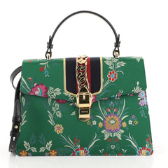 Gucci Sylvie Top Handle Bag Floral Jacquard Medium Green 451111