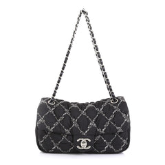 Chanel Tweed On Stitch Flap Bag Quilted Nylon Medium Black 4511121