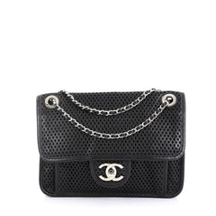 Chanel Up In The Air Flap Bag Perforated Leather Small Black 4511125