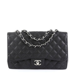 Chanel Vintage Classic Single Flap Bag Quilted Caviar Jumbo Black 4511126