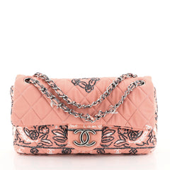 Chanel Bandana Flap Bag Quilted Canvas Medium Pink 4511127