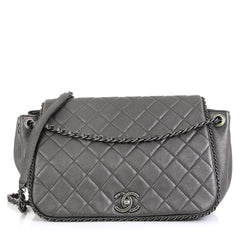 Chanel Chain Around Accordion Flap Bag Quilted Leather Medium Gray 4511151