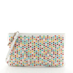 Christian Louboutin Loubiposh Clutch Spiked Leather White 4511155