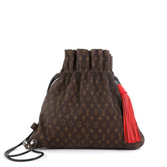 Louis Vuitton Explorer Shoulder Bag Pleated Monogram Canvas MM Brown 4511169