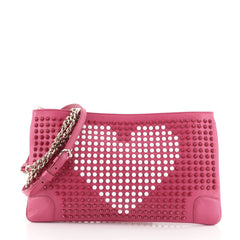 Christian Louboutin Loubiposh Clutch Spiked Leather Pink 4511172