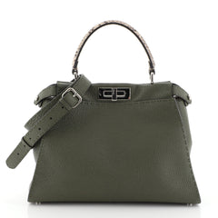 Fendi Selleria Peekaboo Bag Leather with Python Detail Regular Green 4511179