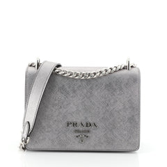 Prada Chain Flap Bag Saffiano Leather Small Silver 4511194