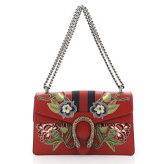 Gucci Web Dionysus Bag Embroidered Leather Small Red 4511401