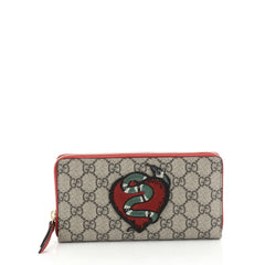Gucci Zip Around Wallet GG Coated Canvas with Applique Brown 451151