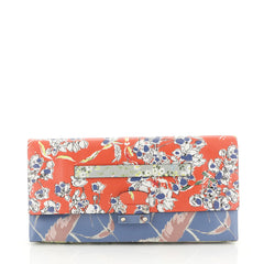 Valentino Mime Clutch Printed Leather Blue 4512010