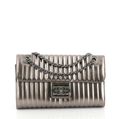 Chanel Maharaja Express Flap Bag Vertical Quilted Patent Medium Silver 451201