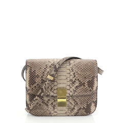 Celine Classic Box Bag Python Medium Brown 451203
