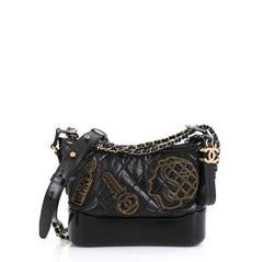 Chanel Gabrielle Hobo Embellished Quilted Aged Calfskin Small Black 451204