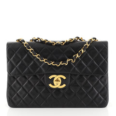 Chanel Vintage Classic Single Flap Bag Quilted Lambskin Maxi Black 451211