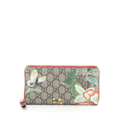 Gucci Zip Around Wallet Tian Print GG Coated Canvas Brown 451463