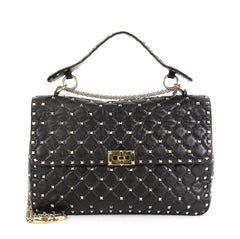 Valentino Rockstud Spike Flap Bag Quilted Leather Large Black 451464