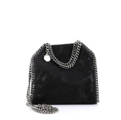 Stella McCartney Falabella Fold Over Crossbody Bag Shaggy Deer Tiny Black 451582