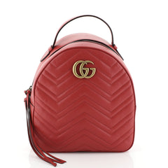 Gucci GG Marmont Backpack Matelasse Leather Small Red 451611