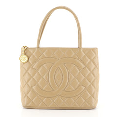 Chanel Medallion Tote Quilted Caviar Neutral 4516501