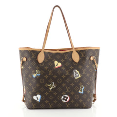 Louis Vuitton Neverfull NM Tote Limited Edition Love Lock Monogram Canvas MM Brown 451701