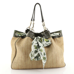 Gucci Positano Tote Raffia with Snakeskin Large Neutral 451941