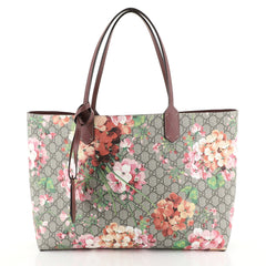 Gucci Reversible Tote Blooms GG Print Leather Large Brown 452195