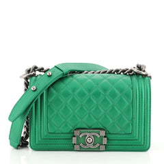 Chanel Boy Flap Bag Quilted Lambskin Small Green 4522401