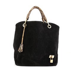 Louis Vuitton Whisper Bag Monogram Suede and Python GM Black 452291