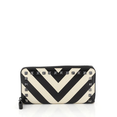 Valentino Rockstud Zip Around Wallet Striped Leather White 4523615