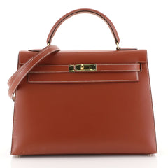 Hermes Kelly Handbag Brown Box Calf with Gold Hardware 32 Brown 4523621