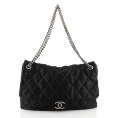 Chanel CC Chain Flap Quilted Satin Large Black 452362