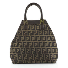 Fendi Vintage Zip Tote Zucca Canvas Medium Black 452363