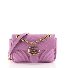 Gucci GG Marmont Flap Bag Matelasse Leather Mini Pink 452365