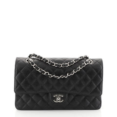 Chanel Classic Double Flap Bag Quilted Caviar Medium Black 452368