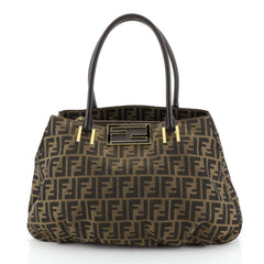 Fendi Mia Tote Zucca Canvas Large Brown 452471