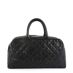 Chanel Timeless CC Bowler Bag Quilted Caviar Large Black 4528112