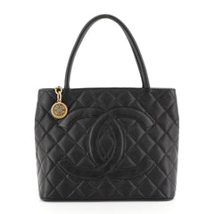 Chanel Medallion Tote Quilted Caviar Black 4528120