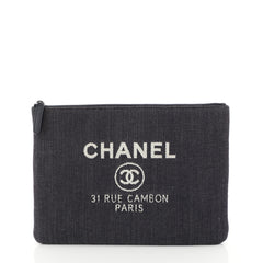 Chanel Deauville Pouch Denim Medium Blue 4528154