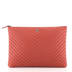Chanel O Case Clutch Chevron Caviar Large Red 4528155