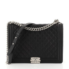 Chanel Boy Flap Bag Quilted Caviar Large Black 452863