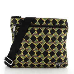 Zip Messenger Bag Printed Tessuto Medium