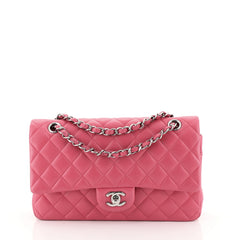 Chanel Classic Double Flap Bag Quilted Lambskin Medium Pink 452971