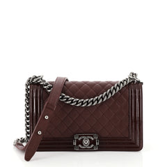 Chanel Boy Flap Bag Quilted Goatskin with Patent Old Medium Red 453031
