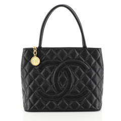 Chanel Medallion Tote Quilted Caviar Black 45304101