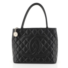 Chanel Medallion Tote Quilted Caviar Black 45304103