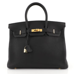Hermes Birkin Handbag Black Togo with Gold Hardware 35 Black 45304105