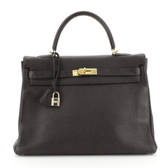 Hermes Kelly Handbag Brown Clemence with Gold Hardware 35 Brown 45304112