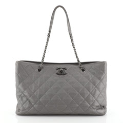 Chanel Be Caviar Tote Quilted Caviar Large Gray 4530431
