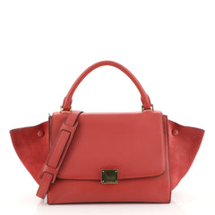 Celine Trapeze Handbag Leather Small Red 4530457