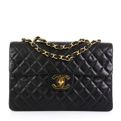 Chanel Vintage Classic Single Flap Bag Quilted Lambskin Maxi Black 4530493